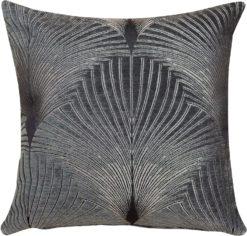 Art Deco Fan Cushion in Grey and Silver