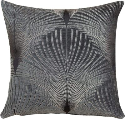 Art Deco Fan Cushion in Grey and Silver