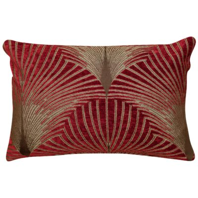 Art Deco Fan Rectangular Cushion in Red and Gold