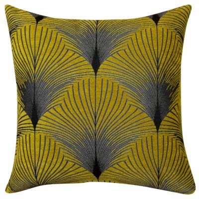 XL Art Deco Fan Cushion in Ochre and Silver