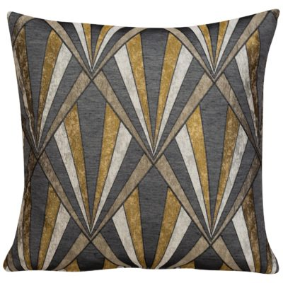 Art Deco Geometric Cushion in Gold and Black