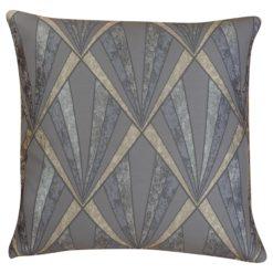Art Deco Geometric Cushion in Grey and Silver