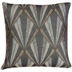 Art Deco Geometric Cushion in Grey and Copper