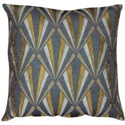 XL Art Deco Geometric Cushion in Gold and Black