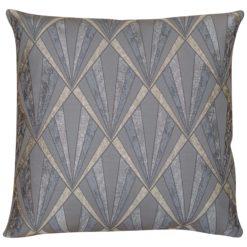 XL Art Deco Geometric Cushion in Grey and Silver