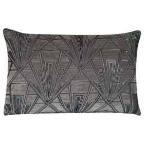 Art Deco Geometric XL Rectangular Cushion in Grey and Silver