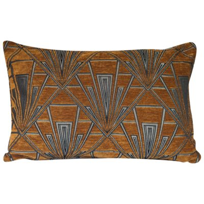 Art Deco Geometric XL Rectangular Cushion in Gold and Silver