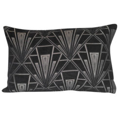 Art Deco Geometric XL Rectangular Cushion in Black and Silver