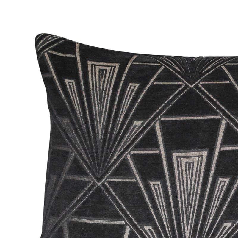 Art Deco Geometric XL Rectangular Cushion in Black and Silver