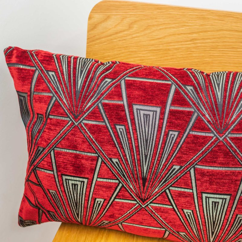 Art Deco Geometric XL Rectangular Cushion in Red and Silver