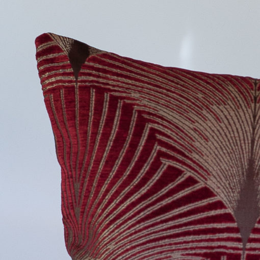 Art Deco Fan XL Rectangular Cushion in Red and Gold