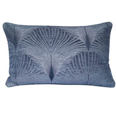 Art Deco Fan XL Rectangular Cushion in Grey and Silver