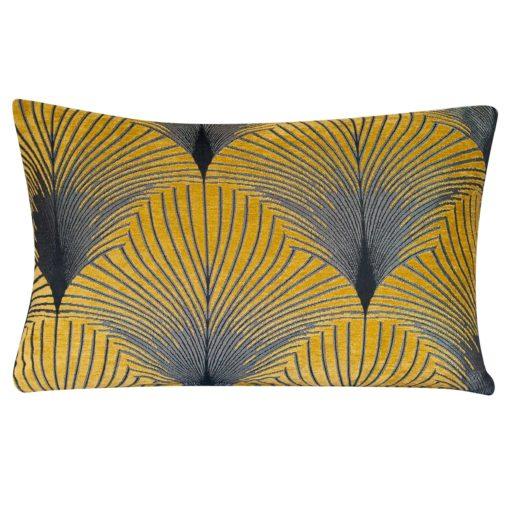 Art Deco Fan XL Rectangular Cushion in Ochre and Silver