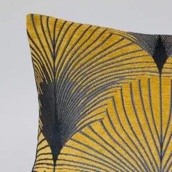 Art Deco Fan XL Rectangular Cushion in Ochre and Silver