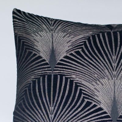 Art Deco Fan XL Cushion in Black and Silver
