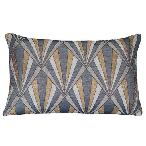 Metallic Art Deco XL Rectangular Cushion in Gold and Black