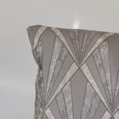 Metallic Art Deco XL Rectangular Cushion in Grey and Silver