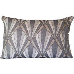 Metallic Art Deco XL Rectangular Cushion in Grey and Copper