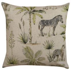 Vintage Linen Look Safari Print Cushion