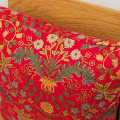 Morris Style Leaves and Berries Cushion in Red