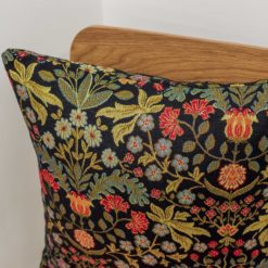 Morris Style Leaves and Berries Cushion in Black