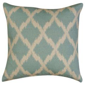 Linen Blend Sky Blue Trellis Pattern Cushion