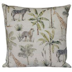Vintage Linen Look Safari Print XL Cushion