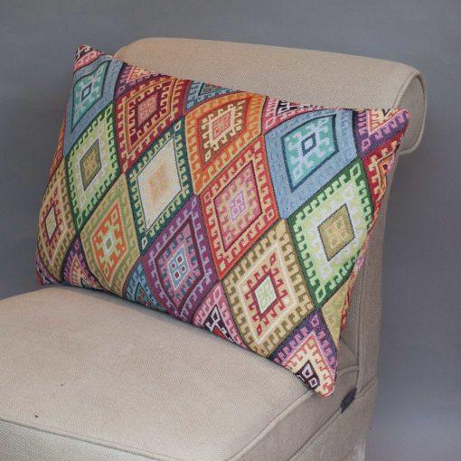 Kilim Weave XL Rectangular Cushion in Rainbow