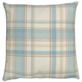 Tartan Check XL Cushion in Duck Egg Blue