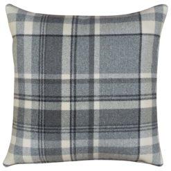 Tartan Check Cushion in Slate Grey