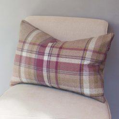 Tartan Check XL Rectangular Cushion in Heather