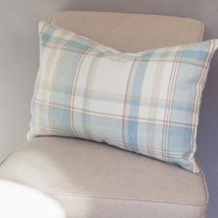 Tartan Check XL Rectangular Cushion in Duck Egg Blue