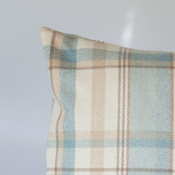 Tartan Check XL Rectangular Cushion in Duck Egg Blue