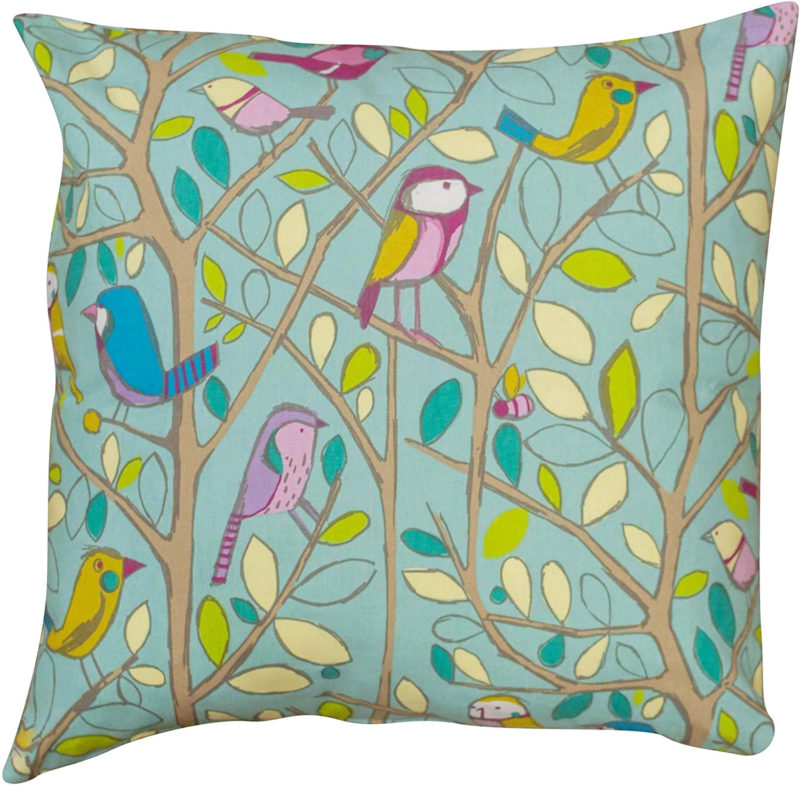 XL Illustrated Bird on a Brand Cushion in Duck Egg Blue
