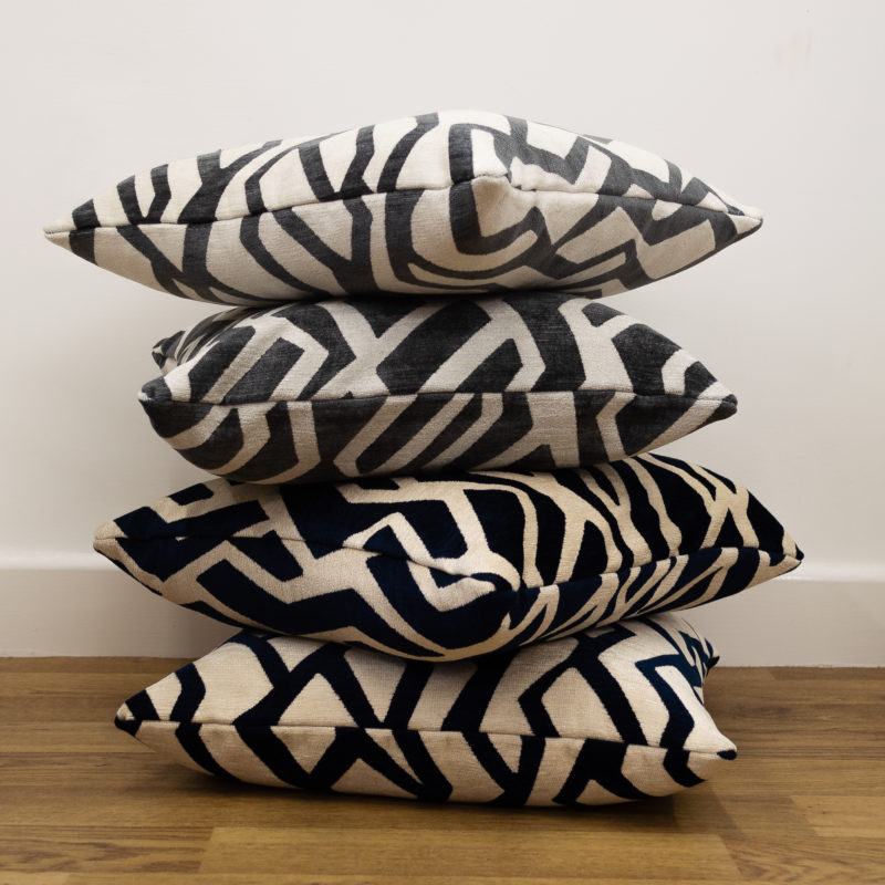 Abstract Geo Chenille Cushion Pile