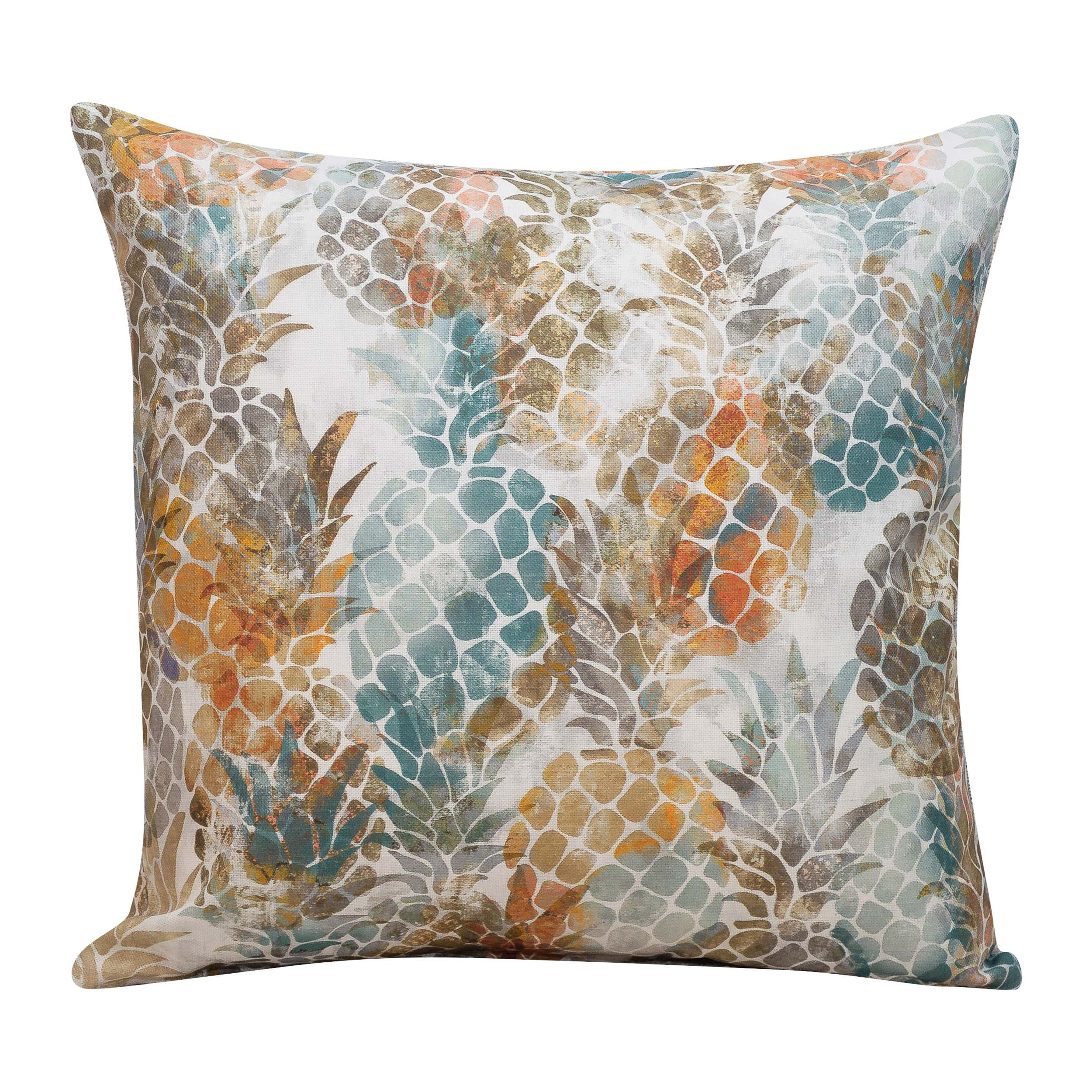 Abstract Pineapple Print Cushion in Terracotta