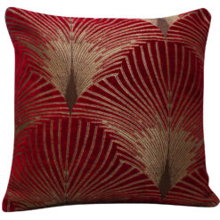 Art Deco Fan Cushion in Red and Gold