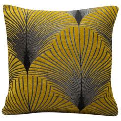 Art Deco Fan Cushion in Ochre and Silver