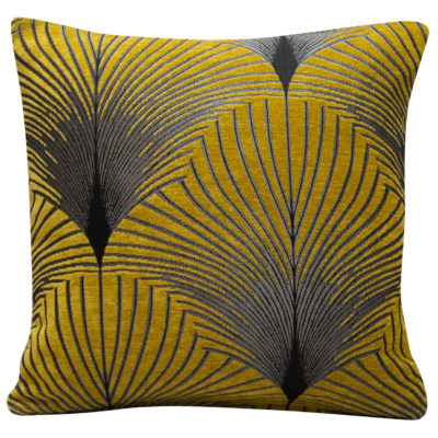 Art Deco Fan Cushion in Ochre and Silver