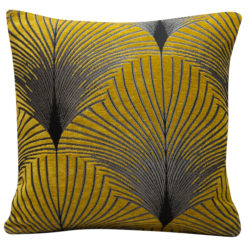 Art Deco Fan Cushion In Ochre