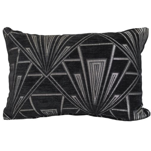 Art Deco Geometric Boudoir Cushion Black