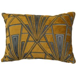 Art Deco Geometric Boudoir Cushion in Gold and Silver