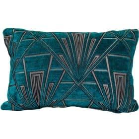 Art Deco Geometric Boudoir Cushion Teal