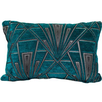 Art Deco Geometric Boudoir Cushion Teal