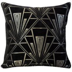 Art Deco Geometric Cushion Black Silver