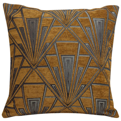 Art Deco Geometric Velvet Chenille Cushion in Gold and Silver