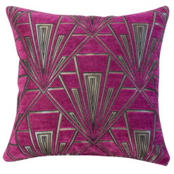 Art Deco Geometric Cushion in Pink and Silver