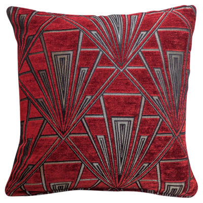 Art Deco Geometric Velvet Chenille Cushion in Red and Silver