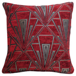 Art Deco Geometric Cushion Red Silver