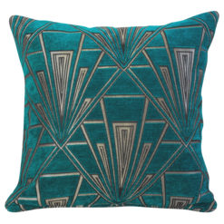 Art Deco Geometric Velvet Chenille Cushion in Teal and Silver